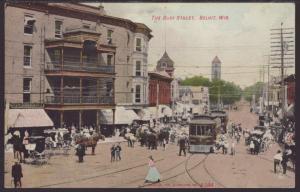 The Busy Street,Beloit,WI Postcard