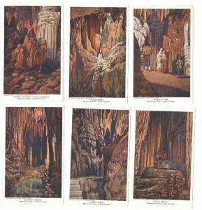 VA Luray Caverns Paintings by J W Hawkins Set of 6 Vintage 1909 Postcard