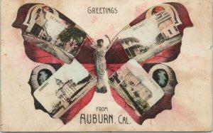 Auburn CA Greetings Butterfly RR St. Main Street Scheff Bros Postcard E90 *as is