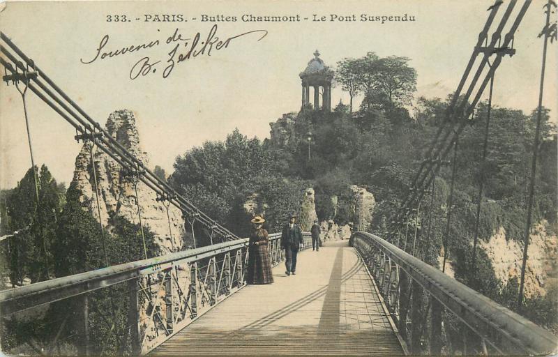 Carte Buttes Chaumont.Cpa France Paris Buttes Chaumont Le Pont Suspendu Animee 1910s