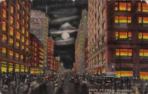 Illinois Chicago State Street From Madison By Night 1916 Curteich