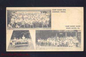 SOMERSET PENNSYLVANIA WHITE HAVEN PA. CAMP EASTER SEAL DADDY ALLEN POSTCARD
