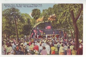 P693 JLs 1930-45 linen open air band concert people st peterburg florida