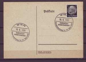 P1673 1939 WWII nazi germany postcard wien cancel hindenburg stamp
