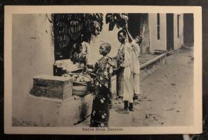 Mint Zanzibar RPPC Real Picture Postcard Native Shop Buying Bananas