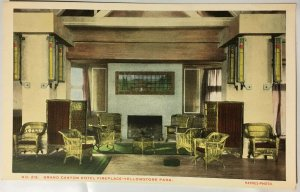 Grand Canyon Hotel Yellowstone Park WY Interior Wicker Chairs Haynes Fireplace
