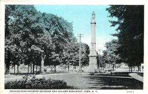 Avon New York~Village Park~Civil War Soldiers & Sailors Monument~Blue Sky 1930s