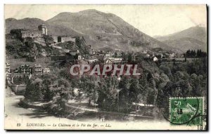 Old Postcard Lourdes Chateau and the Pic du Jer