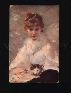000449 5BELLE Girl w/ PUSSY CAT by Charles CHAPLIN vintage PC