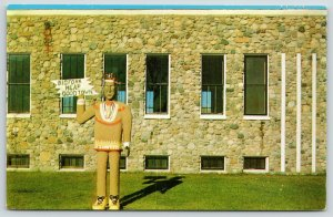 Bigfork Minnesota~Chief Busticogan~Wooden Indian~City Hall~Heap Good Town~1950s