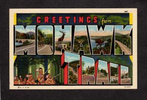 MA Greetings From Mohawk Valley Mass Massachusetts Linen Large Letter Postcard