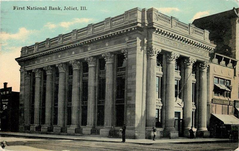 Joliet Illinois~First National Bank~Weltin Shoe Company~1911 Postcard