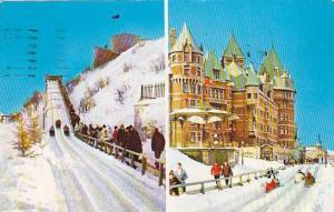 2-Views, Winter Scene On Dufferin Terrace, Quebec, Canada, PU-1965