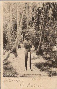 Native of Hawaii Indigenous Hawaiian Man HI Rice & Perkins c1907 Postcard G17