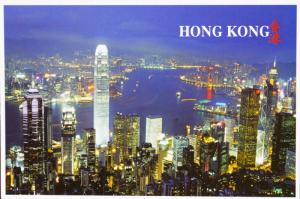 Panorama Kowloon Hong Kong China Night Unused Postcard D31