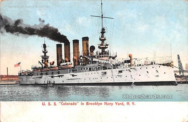 USS Colorado in Brooklyn Navy Yard, NY Military Battleship 1907