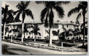 Fort Ft Myers Florida~Palm Trees on 1st Street~Arvelee Apartments~RPPC 1949 PC