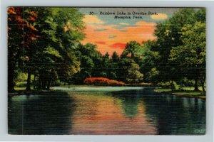 Memphis TN-Tennessee, Rainbow Lake In Overton Park, Linen Postcard