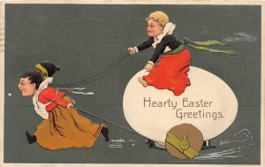G46/ Easter Postcard Holiday Greetings c1910 Egg Cart  Kids Germany 6
