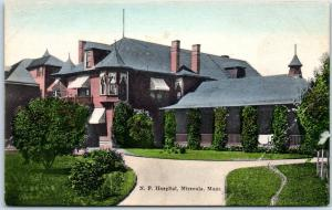 Missoula, Montana Postcard NORTHERN PACIFIC HOSPITAL Hand-Colored c1910s Unused