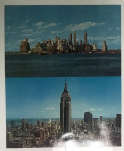 Lot 2 Cityscape of New York City in New York Giant Vintage Postcard