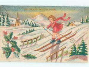 foreign 1945 Postcard GIRL SKIING ON HER SKIS AC3568