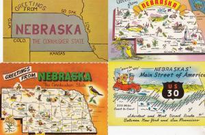 Nebraska Classic Car Race Cornhusker 4x Map Postcard s