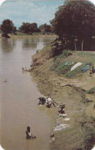 Washday Along One Of The Many Picturesque Streams Of Haiti, 1940-1960s