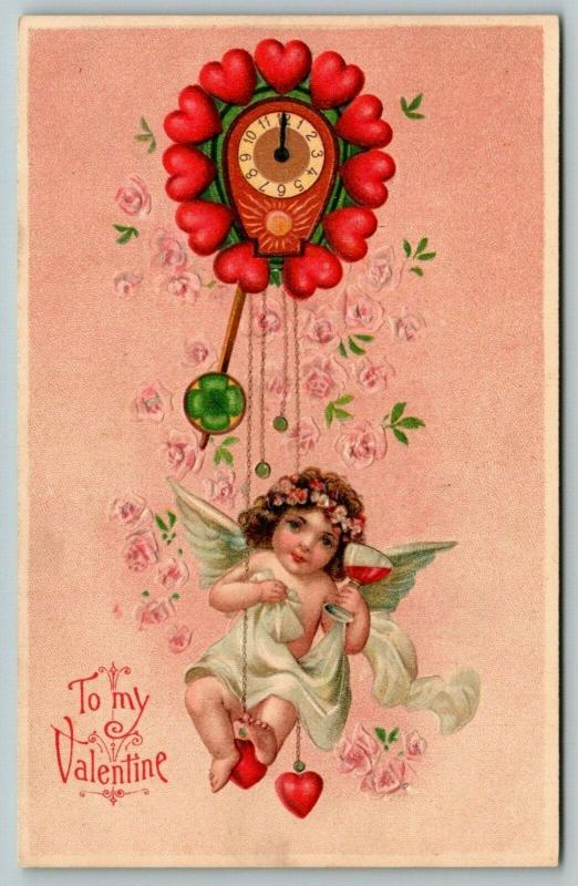 Valentine~Darling Cupid Girl Swings Heart Clock Pendulum~Wine Glass~Emboss~BW310