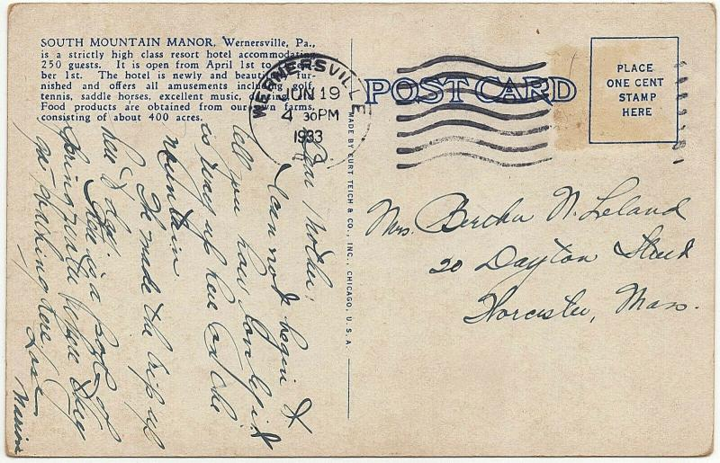 1933 Wernersville PA South Mountain Manor Resort Hotel Berks County WB Postcard
