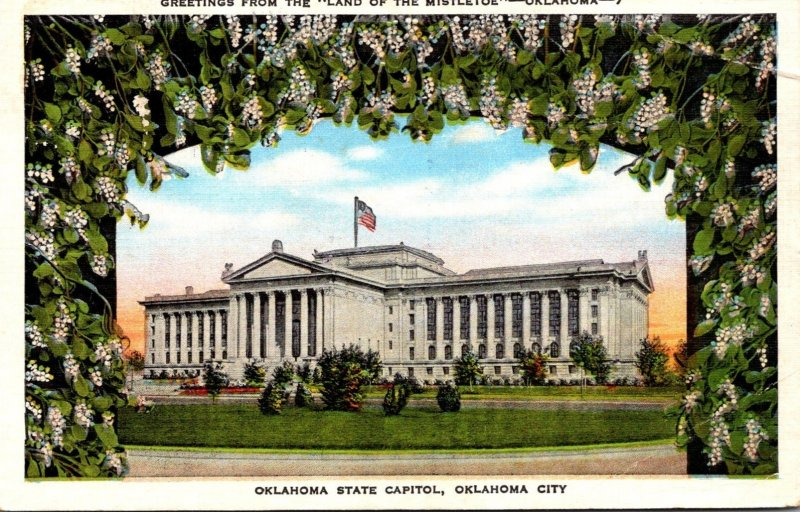 Oklahoma Okahoma City State Capitol Greetings From The Land Of Mistletoe 1951