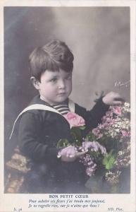 RP; Hand-colored, Portrait of boy wearing a sailor suit, colorful flowers, Bo...