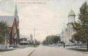Hill Street Looking West Wabash Indiana 1908 postcard