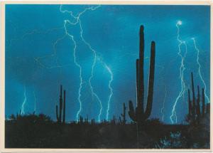 Lightning over ARIZONA, unused Postcard