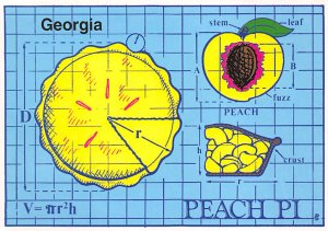 Georgia Peach Pi  Postcard Unused