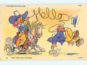 Linen old west comic COWBOY ON HORSE SPELLS HELLO WITH ROPE o7876