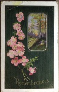 Antique Postcard Remembrances Pink Country Rose Woodland Scene Greeting