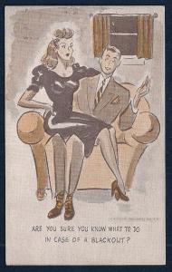 'You Know What to do....' Pretty Lady Mans Lap unused c1940s