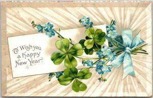 Vintage HAPPY NEW YEAR Greetings Postcard Forget Me Not Flowers / Clover - 1908