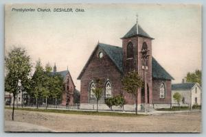 Deshler Ohio~Presbyterian Church on Corner~Neighborhood Homes~1909 Handcolored
