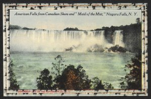 American Falls from Canadian Shore Maid of the Mist Niagara Falls Unused c1910s