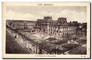 Old Postcard Lyon Artistic The prefecture and its gardens