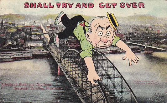 Exaggeration Large Man Climbing Over Bridge Allegheny River