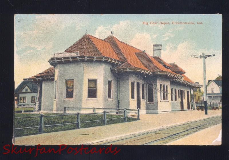 CRAWGORDSVILLE INDIANA BIG FOUR RAILROAD DEPOT TRAIN STATION VINTAGE POSTCARD