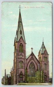 Akron Ohio~Methodist Episcopal ME Church~c1910 Postcard