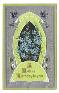 Happy Birthday Forget Me Not Silver Background 1909 Postcard