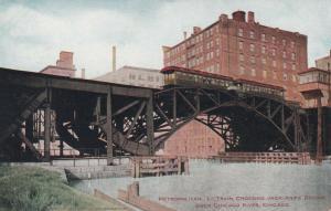 CHICAGO, Illinois , 1901-07; L Train, Crossing Jack-Knife Bridge over River