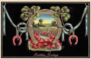 Golden Horseshoe Portal~Pink Forget-Me-Nots Meadow Path~Black Back GEL