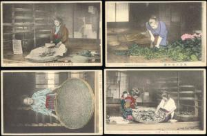 japan, SET of 10 Postcards, Native Japanese Silk Industry (1910s)