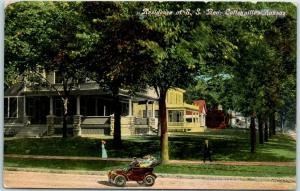 Coffeyville, Kansas Postcard Residence of E.S. Rea House / Street Scene 1912
